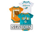 Miami Dolphins Outerstuff NFL Newborn 3 Point Spread Body Suit Set Infant Apparel