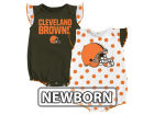 Cleveland Browns Outerstuff NFL Newborn Polka Fan 2 Piece Creeper Set Infant Apparel