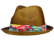 LIDS Private Label PL Tea Stained Straw Fedora with Floral Band Hats
