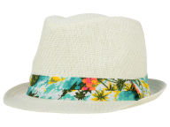 LIDS Private Label PL White Straw Fedora with Hawaiin Print Band Hats