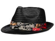LIDS Private Label PL Black Straw Fedora with Floral Band Hats