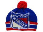 New York Rangers CCM Hockey NHL CCM Oversized Logo Cuffed Pom Knit Hats
