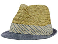 LIDS Private Label PL Straw & Denim Fedora with Striped Band Hats
