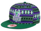 Milwaukee Bucks New Era NBA HWC Tri-All Print 9FIFTY Snapback Cap Adjustable Hats