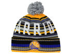 Golden State Warriors Mitchell and Ness NBA G-Super Stripe Pom Knit Hats