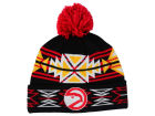 Atlanta Hawks Mitchell and Ness NBA Black Geotech Cuffed Pom Knit Hats