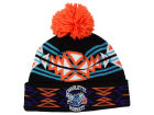 Charlotte Hornets Mitchell and Ness NBA Black Geotech Cuffed Pom Knit Hats