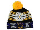 Golden State Warriors Mitchell and Ness NBA Black Geotech Cuffed Pom Knit Hats