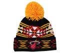 Miami Heat Mitchell and Ness NBA Black Geotech Cuffed Pom Knit Hats