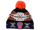 New York Knicks Mitchell and Ness NBA Black Geotech Cuffed Pom Knit Hats