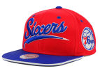 Philadelphia 76ers Mitchell and Ness NBA Billboard Script Snapback Cap Adjustable Hats