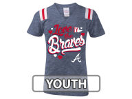 5th & Ocean MLB Girls Shoulder Stripe Glitter T-Shirt T-Shirts