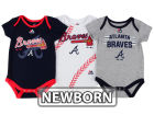 Atlanta Braves Majestic MLB Newborn Three Strikes Bodysuit Set Infant Apparel