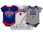 Chicago Cubs Majestic MLB Newborn Three Strikes Bodysuit Set Infant Apparel
