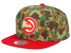 Atlanta Hawks Mitchell and Ness NBA Camo with Team Color Visor Strapback Cap Adjustable Hats