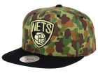 Brooklyn Nets Mitchell and Ness NBA Camo with Team Color Visor Strapback Cap Adjustable Hats