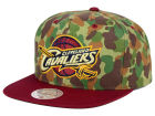 Cleveland Cavaliers Mitchell and Ness NBA Camo with Team Color Visor Strapback Cap Adjustable Hats