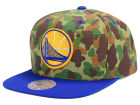 Golden State Warriors Mitchell and Ness NBA Camo with Team Color Visor Strapback Cap Adjustable Hats
