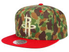 Houston Rockets Mitchell and Ness NBA Camo with Team Color Visor Strapback Cap Adjustable Hats
