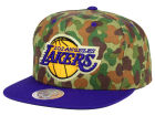 Los Angeles Lakers Mitchell and Ness NBA Camo with Team Color Visor Strapback Cap Adjustable Hats
