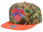 New York Knicks Mitchell and Ness NBA Camo with Team Color Visor Strapback Cap Adjustable Hats