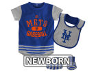New York Mets Majestic MLB Newborn Baseball Property Bib & Booties Set Infant Apparel